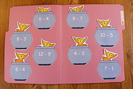 Fish Fun Subtraction Folder Game