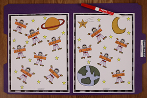 Space Numbers Folder Game